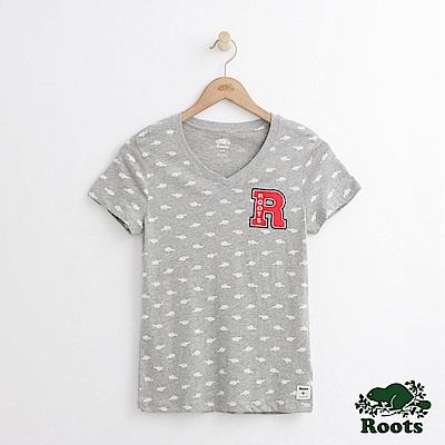 Roots -女裝- 滿版海狸V領短袖T恤 - 灰