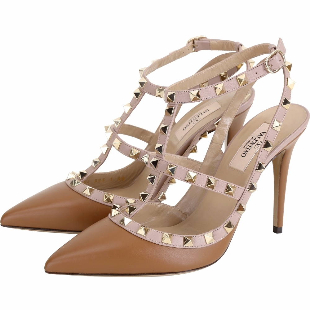 VALENTINO ROCKSTUD 鉚釘繫帶高跟鞋(棕色)