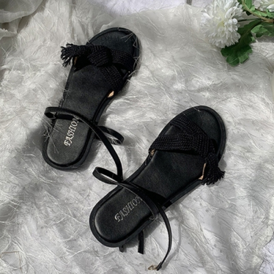 KEITH-WILL時尚鞋館 獨家價韓國氣質布面涼鞋-黑