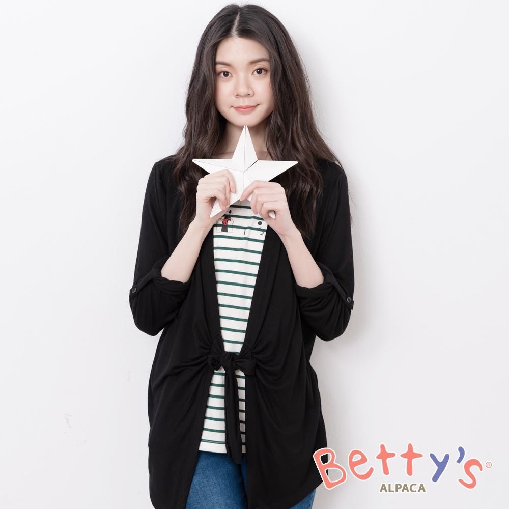 betty's貝蒂思 拼接造型假2件長袖上衣(黑色)