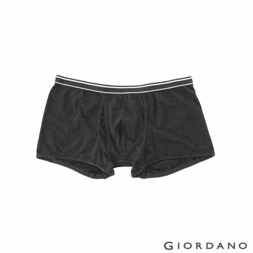 GIORDANO 男裝彈力貼身平底四角褲-42 深灰