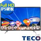 TECO東元 43吋 FHD 低藍光液晶顯示器+視訊盒 TL43A3TRE