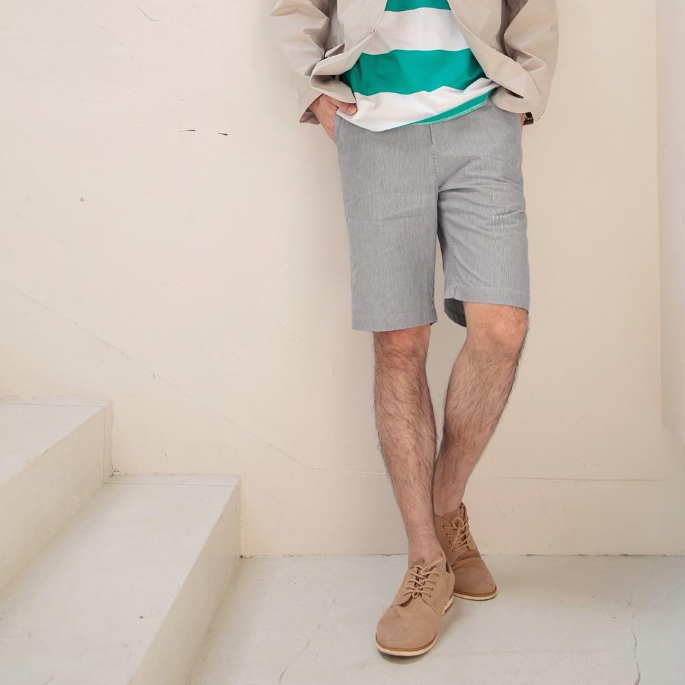 簡約條紋休閒短褲-OB大尺碼