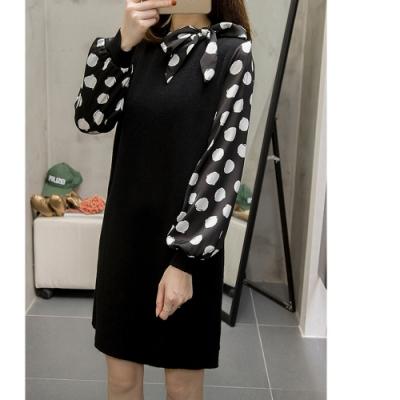 2F韓衣-韓系黑白波點拼接連身裙-黑3XL