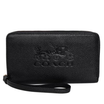 COACH黑色全皮馬車烙印拉鍊掛式手機袋長夾
