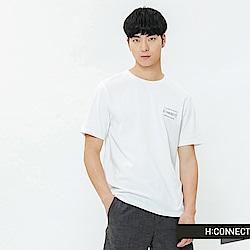 H:CONNECT 韓國品牌 男裝-重疊圖像印字T-shirt-白