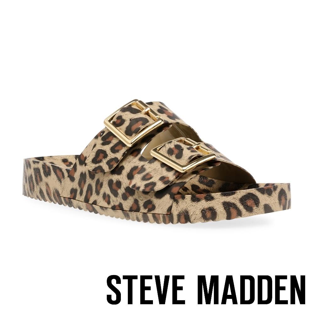 STEVE MADDEN-EVANNE 百搭雙帶扣飾休閒拖鞋-豹紋