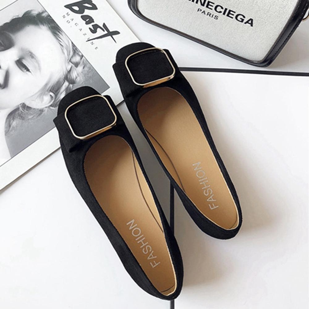 KEITH-WILL時尚鞋館 柔美簡約方扣淺口平底鞋 黑