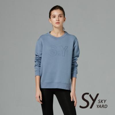 【SKY YARD 天空花園】素面棉質SY印花長袖衛衣-藍色