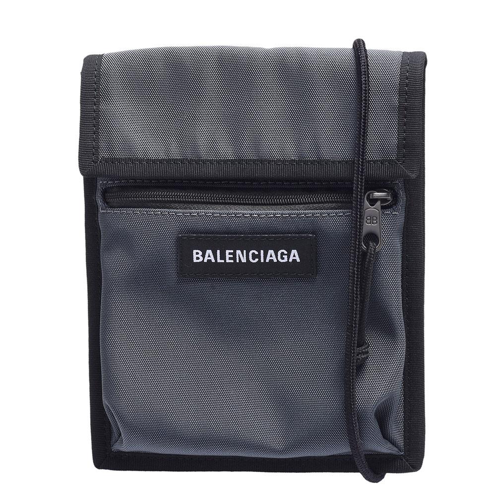 BALENCIAGA 經典Explorer系列品牌粗體字母烙印尼龍斜背包(小-灰)