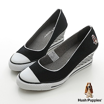 Hush Puppies  海軍風帆布咖啡紗楔型鞋-黑色