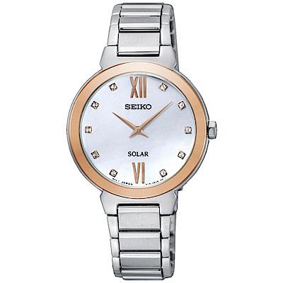 SEIKO 簡約風格太陽能腕錶/白面/V115-0CT0KS/SUP382P1