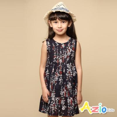 Azio 女童 洋裝 滿版紅白小花草下擺傘狀無袖洋裝(藍)