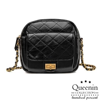 DF Queenin日韓 - 韓版時尚輕奢菱格紋鎖鏈單肩斜背小包-共2色
