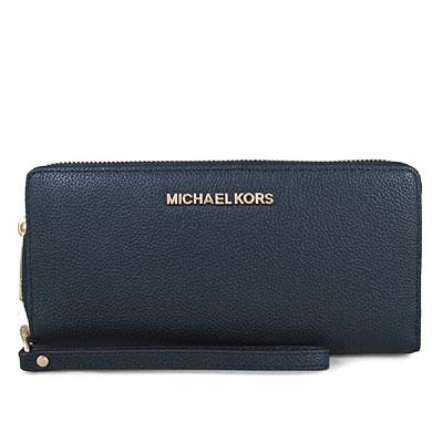 MICHAEL KORS JET SET TRAVEL金字Logo全皮革手提式長夾-海軍藍