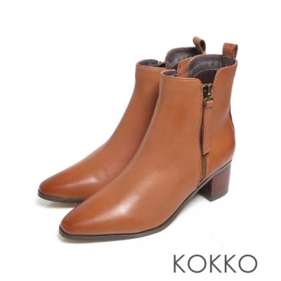 KOKKO質感柔軟小羊皮拉鍊雙擦色粗跟短靴咖啡色