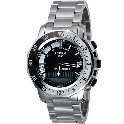 TISSOT SEA-TOUCH 怒海潛將觸控潛水鍊帶錶-黑/44mm T0264201105100