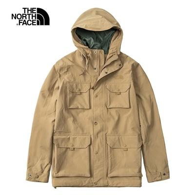 The North Face北面男款卡其色防水透氣連帽衝鋒衣|5AZNPLX