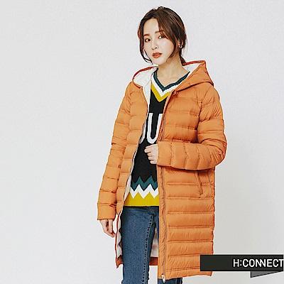 H:CONNECT 韓國品牌 女裝-連帽長板輕羽絨外套-黃