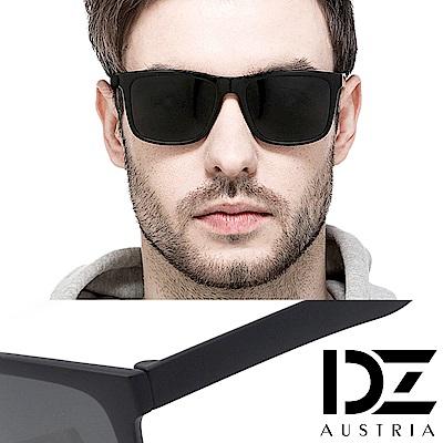 DZ 英式經典 抗UV 防曬偏光太陽眼鏡墨鏡(砂黑框灰片)