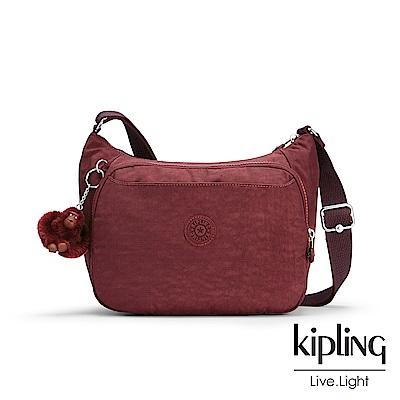 Kipling高雅酒紅雙層側背包