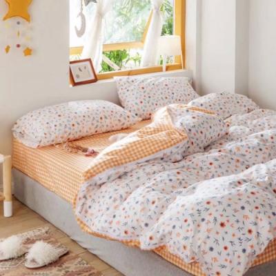 DUYAN竹漾-100%精梳棉/200織-單人三件式舖棉兩用被床包組-花見小路 台灣製