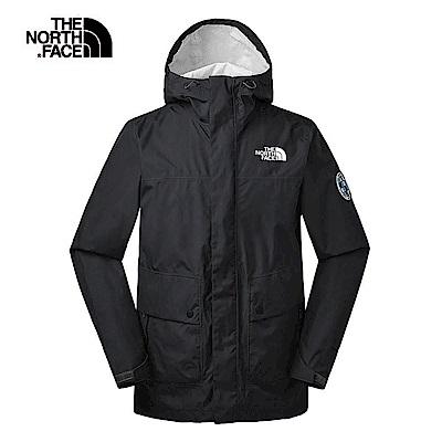 The North Face北面男款黑色防水透氣衝鋒衣 3V4NJK3