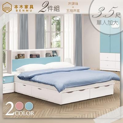 雲朵 房間二件組(床頭箱+五抽床底)-單人加大3.5尺