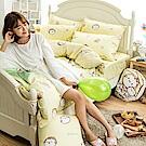 戀家小舖 / 雙人床包被套組  麻吉貓野餐派對-兩色可選  100%精梳棉  台灣製