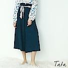 壓摺後鬆緊花紋綁帶寬褲 TATA