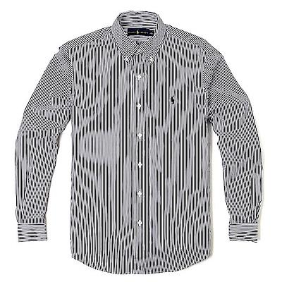Polo Rlaph Lauren 經典刺繡標誌長袖襯衫-黑白色