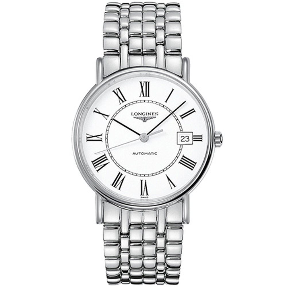 LONGINES 浪琴 時尚羅馬機械錶-白/38.5mm