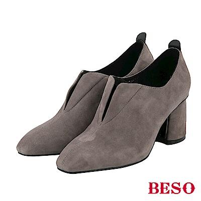 BESO 低調美型 全真皮尖頭金屬粗跟鞋-灰