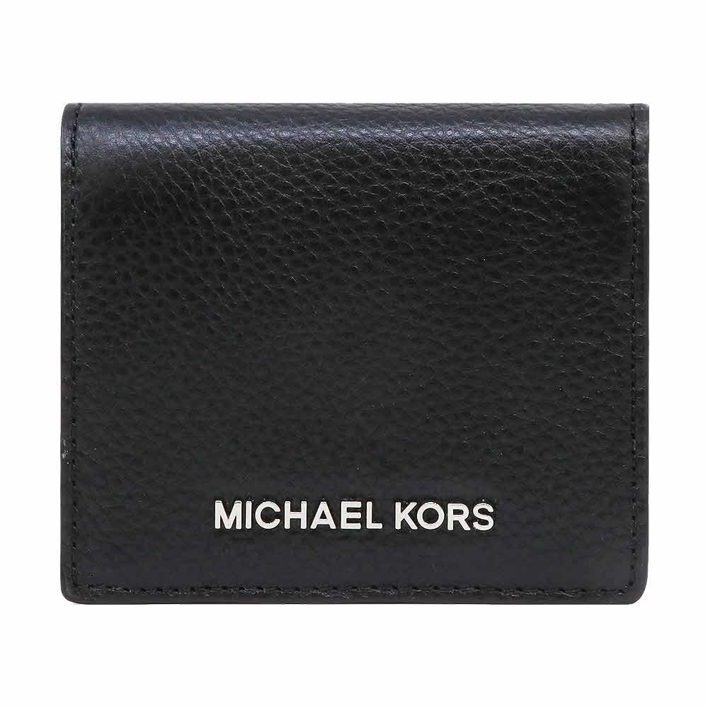 MICHAEL KORS Jet Set荔枝紋皮革銀字LOGO短夾 黑色(展示品)