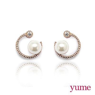 YUME 勾月珍珠 925純銀耳環