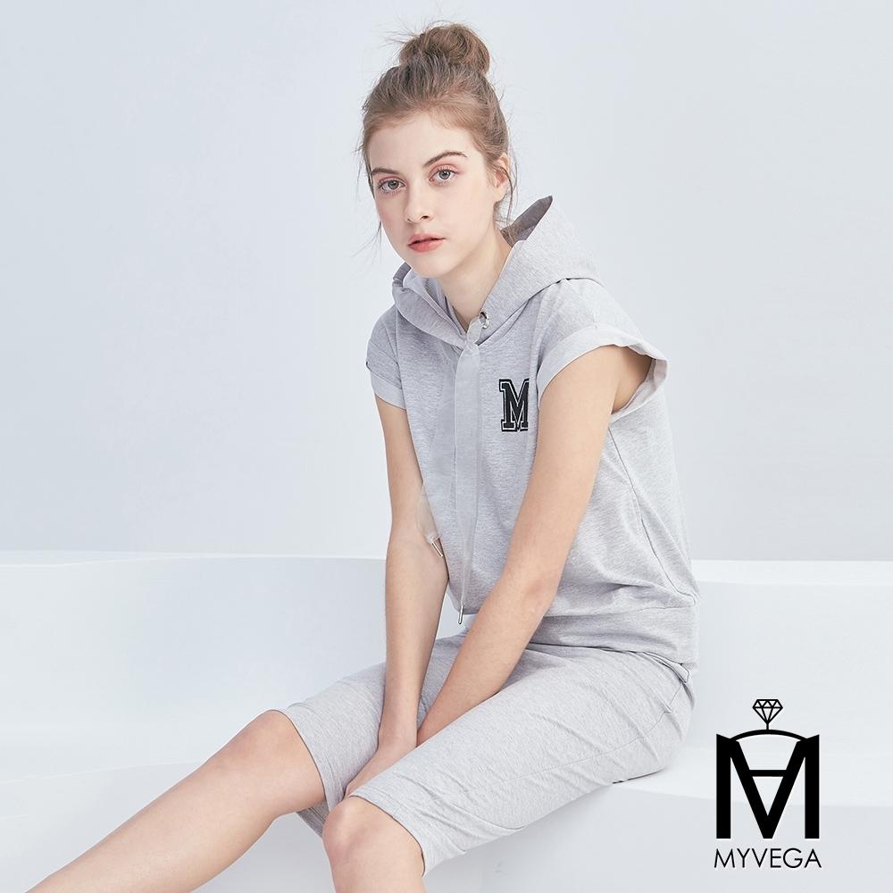 麥雪爾 MA棉質字母刺繡網格抽繩假兩件短洋裝