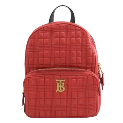 BURBERRY TB金屬LOGO經典格子壓紋羊皮拉鍊後背包(紅)
