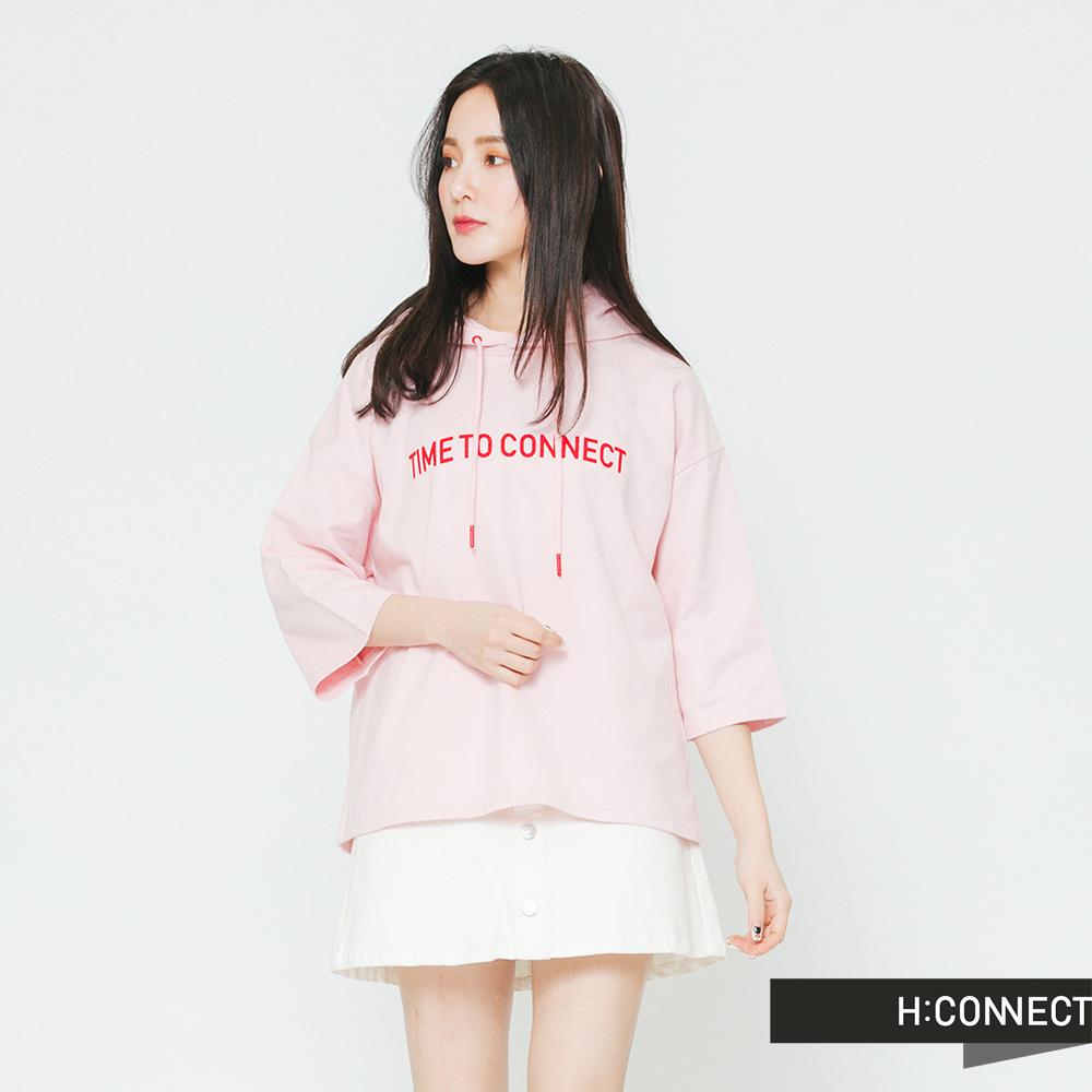 H:CONNECT 韓國品牌 女裝-配色印字抽繩帽T-粉