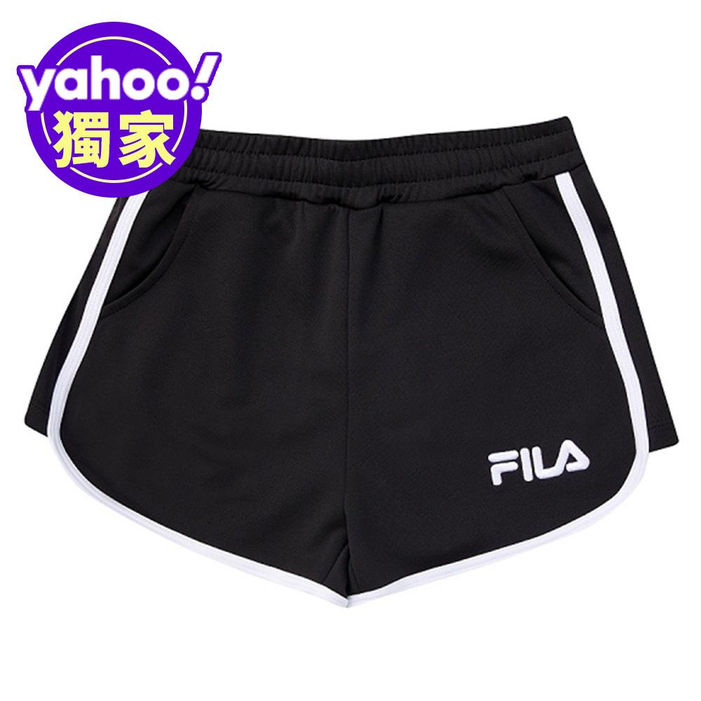FILA KIDS 女童吸濕排汗短褲-黑色 5SHV-4510-BK
