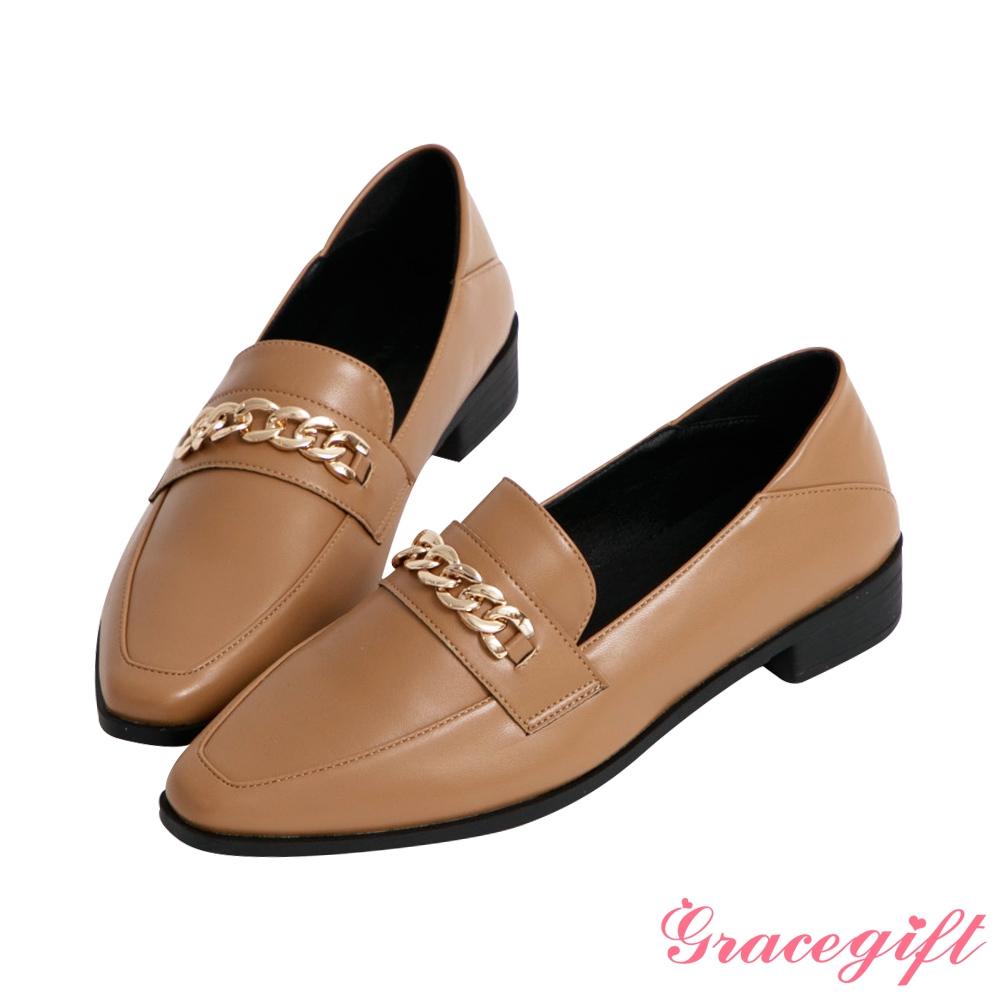 Grace gift-微尖頭鍊條2way樂福鞋 駝