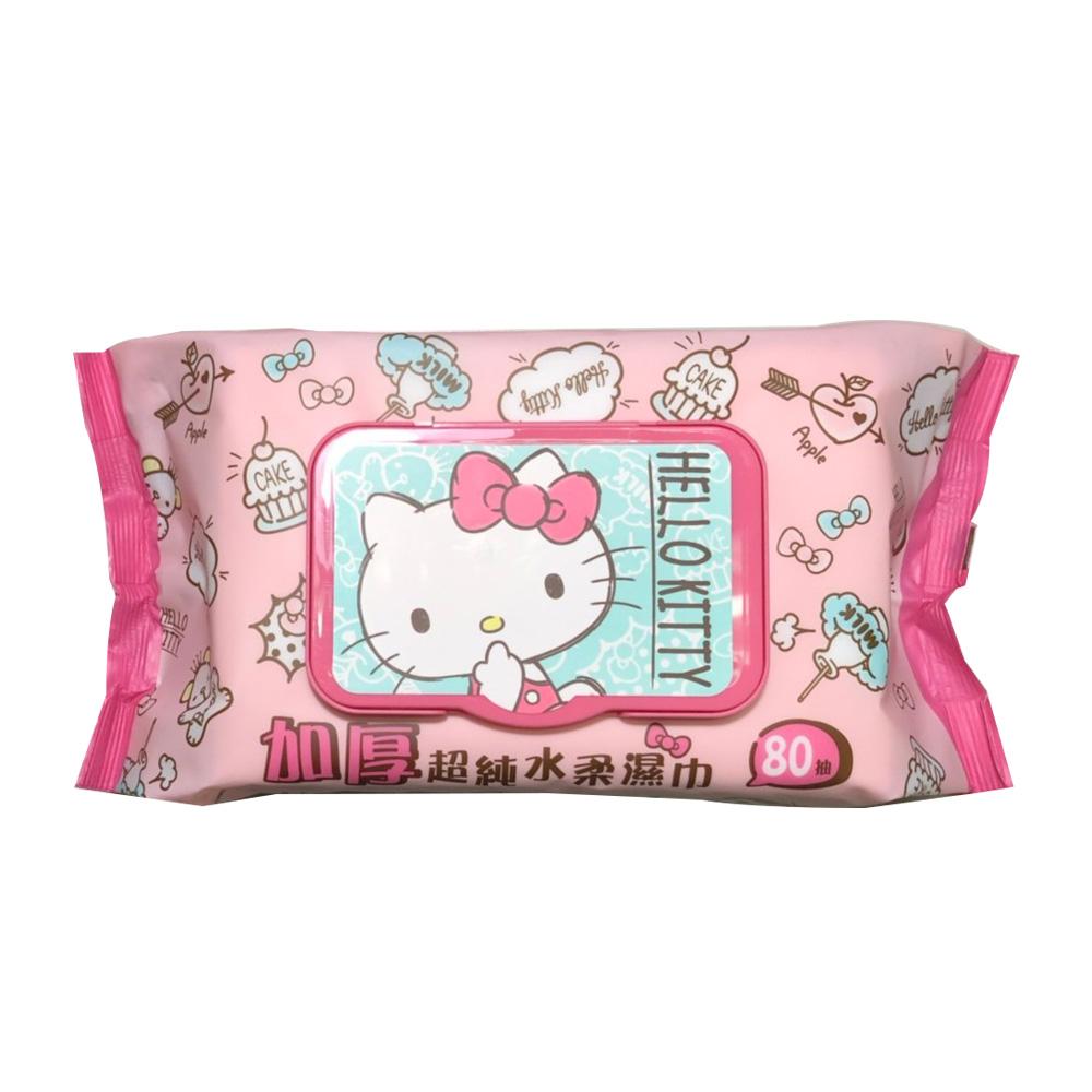 Sanrio 三麗鷗 Hello Kitty 凱蒂貓加厚超純水加蓋濕紙巾 80抽X8包/組