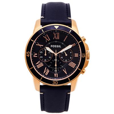 FOSSIL 霸氣傲人款的計時皮革手錶(FS5237)-靛色面X玫瑰金/42mm