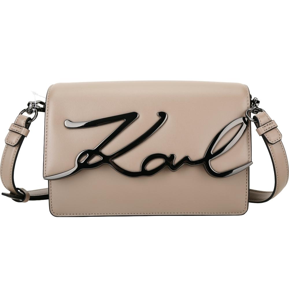 KARL LAGERFELD K/Signature 簽名金屬字樣牛皮肩背包(黏土色)