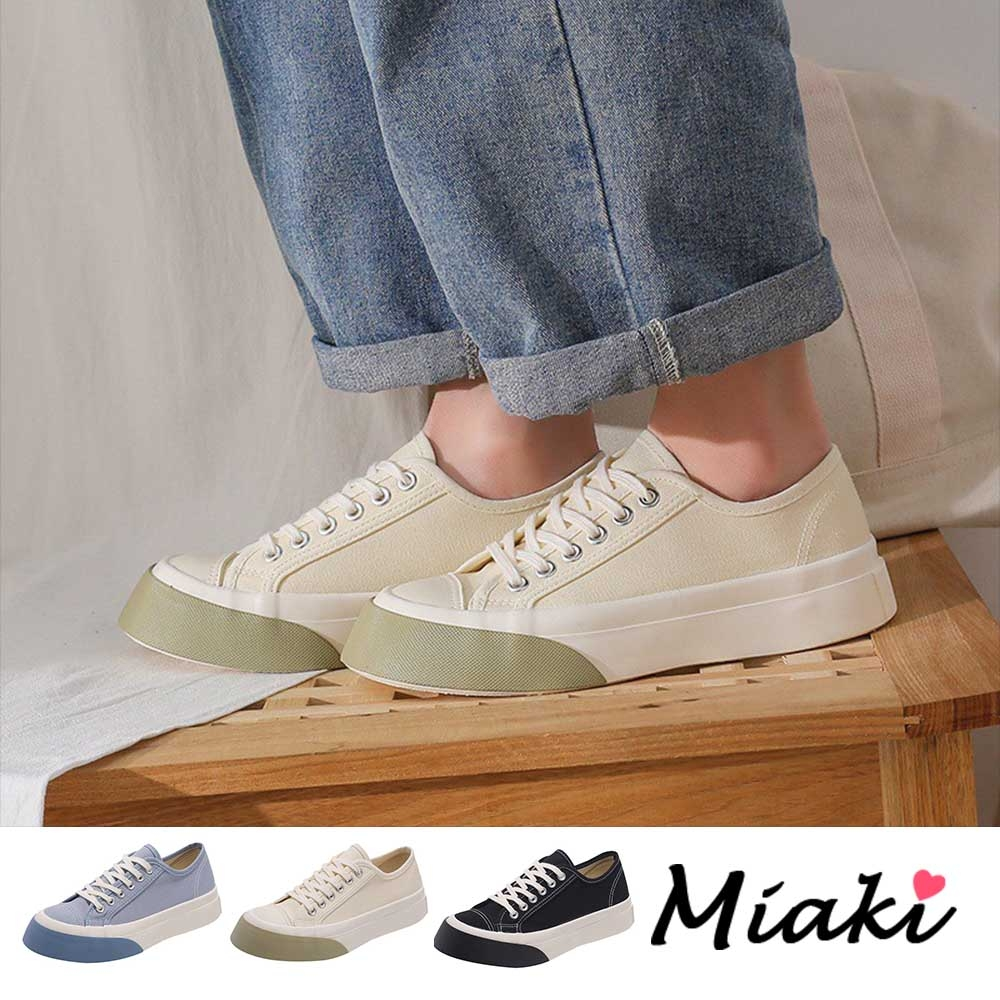 Miaki-帆布鞋.圓頭加厚底舒適休閒鞋 (米色系)
