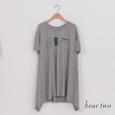 beartwo-後收腰文字長上衣-灰