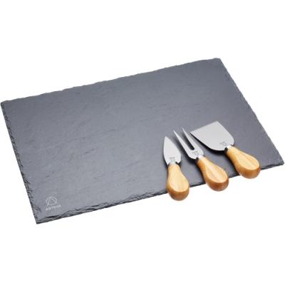 《Master》Artesa起司刀叉3件+磐石輕食盤