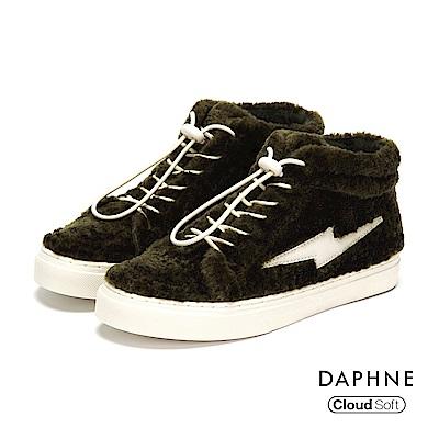 達芙妮DAPHNE 休閒鞋-短絨彈性繫帶舒軟高筒平底休閒鞋-綠