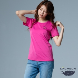 【LACHELN】抗UV吸排彈性印刷女圓領短T恤-L92WA05亮桃紅