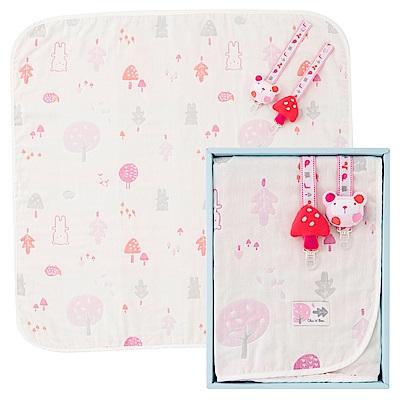 奇哥 森林家族四層紗小蓋被禮盒-粉紅