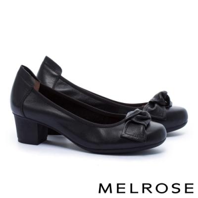 低跟鞋 MELROSE 知性典雅蝴蝶結全真皮粗低跟鞋-黑